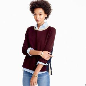 J. Crew Colorblock Crewneck Side Zip Sweater